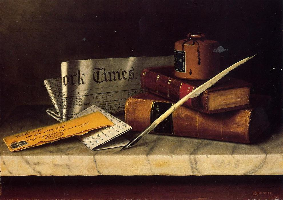 Still Life with Letter to Thomas B. Clarke, Oil On Canvas by William Michael Harnett (1848-1892, Ireland)