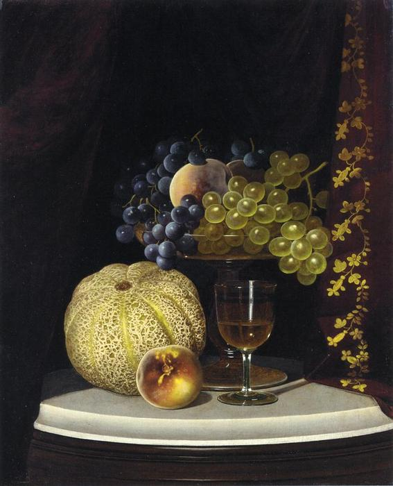 Still Life with Melon, Peach, Fruit-Filled Compote and Glass of Wine on a Marble Table Top, Oil On Canvas by William Mason Brown (1828-1898, United States)