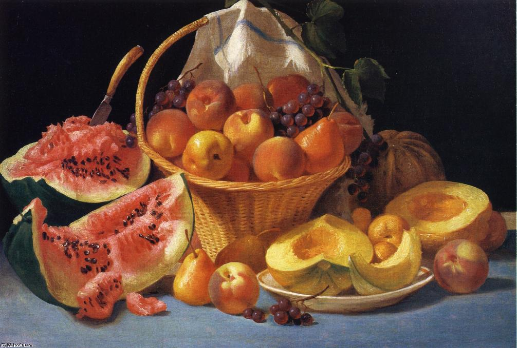 Still Life with Melons, Peaches and Grapes, Oil On Canvas by John F Francis (1905-1990, United States)