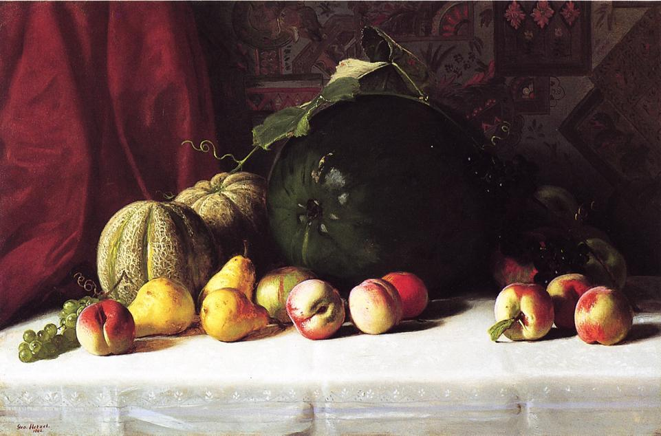 Still Life with Melons, Pears and Apples, Oil On Canvas by George Hetzel (1826-1899, France)