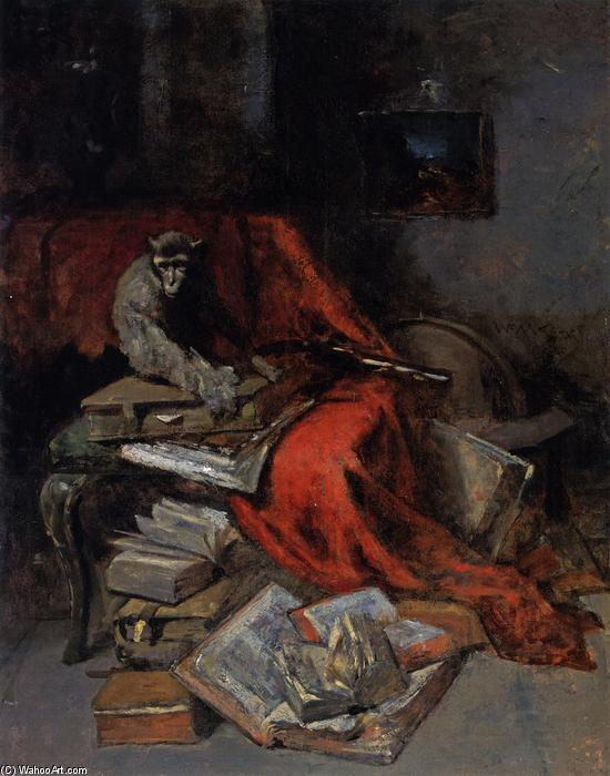 Still Life with Monkey (also known as Monkeying with Literature), Oil On Canvas by William Merritt Chase (1849-1916, United States)