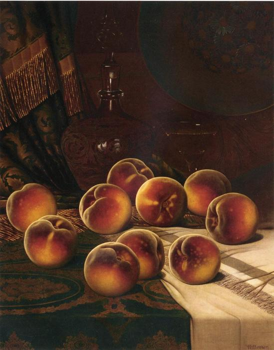Still Life with Peaches, Oil On Canvas by William Mason Brown (1828-1898, United States)