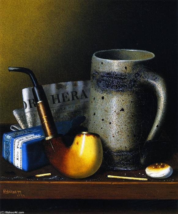 Still Life with Pipe and New York Herald, Oil On Canvas by William Michael Harnett (1848-1892, Ireland)