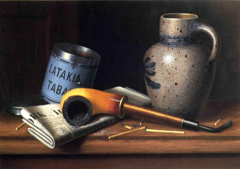 Buy Museum Art Reproductions : Still Life with Pipe and Tobacco by William Michael Harnett (1848-1892, Ireland) | ArtsDot.com