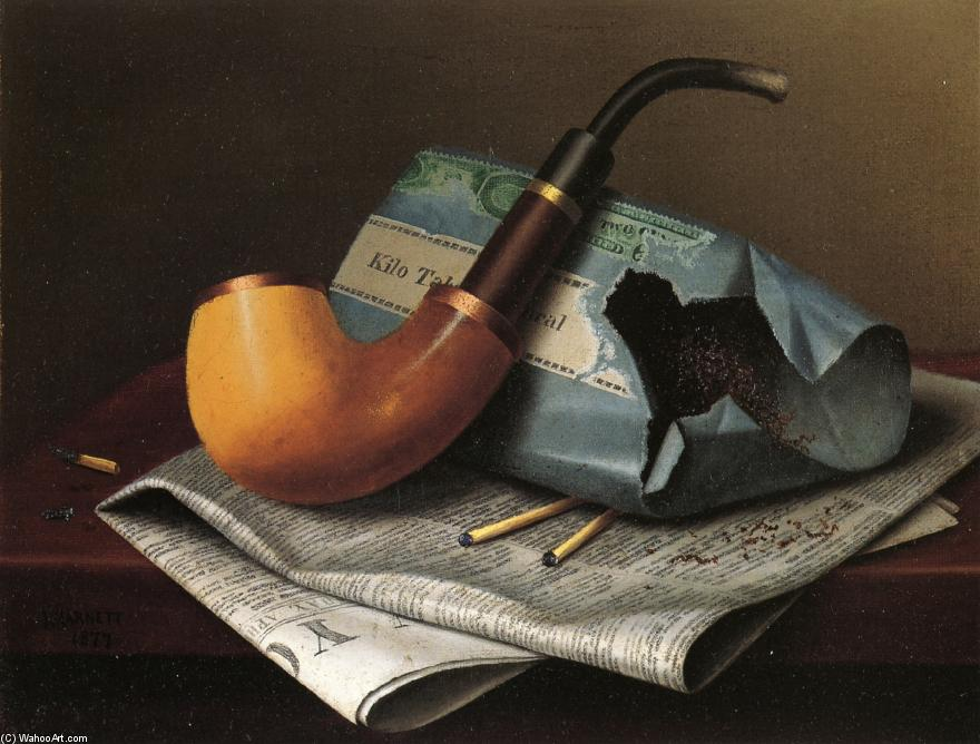 Still Life with Pipe, Newspaper and Tobacco Pouch, Chalk by William Michael Harnett (1848-1892, Ireland)
