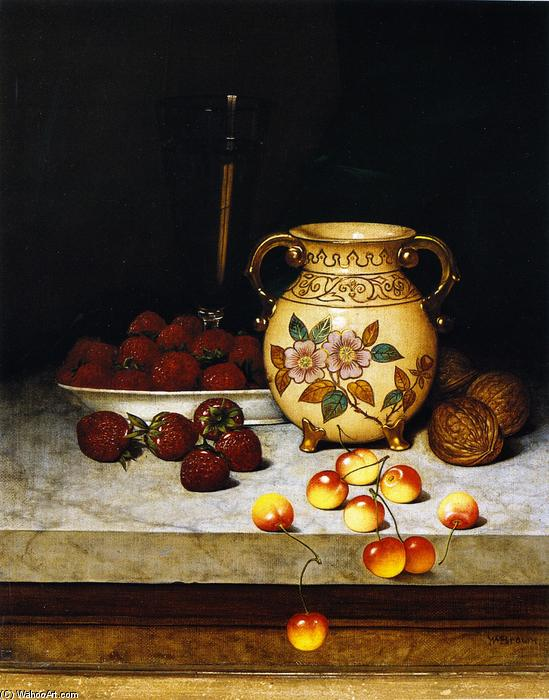 Still LIfe with Queen Anne Cherries, Oil On Canvas by William Mason Brown (1828-1898, United States)