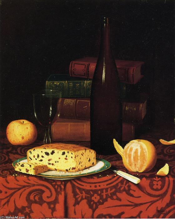 Still Life with Raisin Cake, Fruit and Wine, Oil On Canvas by William Michael Harnett (1848-1892, Ireland)