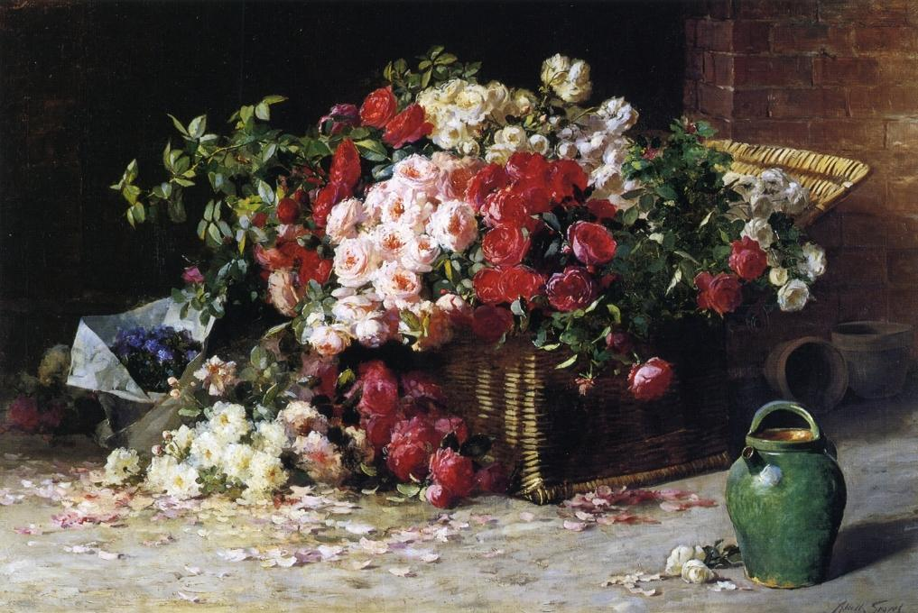 Still Life with Roses, Oil On Canvas by Abbott Fuller Graves (1859-1936, United States)