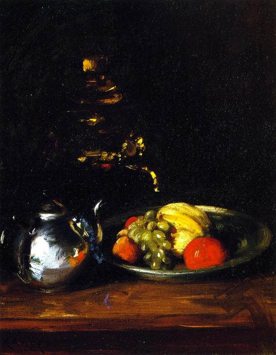 Still LIfe with Teapot and Dish of Fruit, Oil On Canvas by William Merritt Chase (1849-1916, United States)