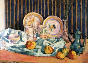 Emile Bernard - Still Life with Teapot, Apples and Dishes