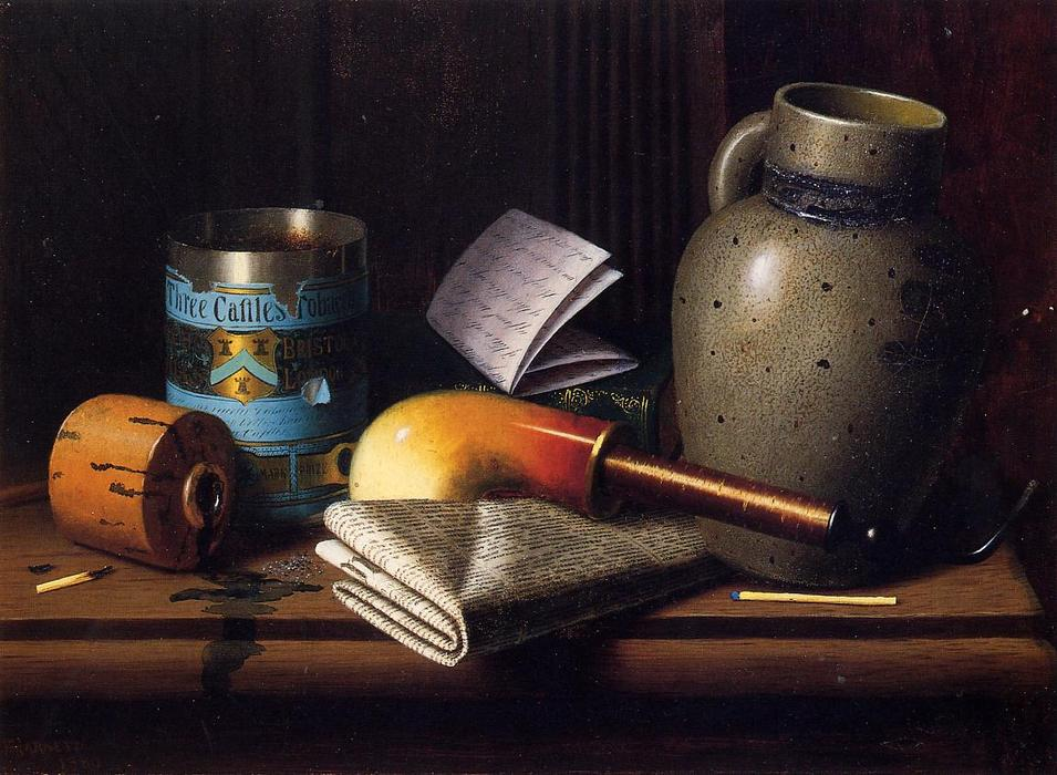 Still Life with Three Castles Tobacco, Oil On Canvas by William Michael Harnett (1848-1892, Ireland)