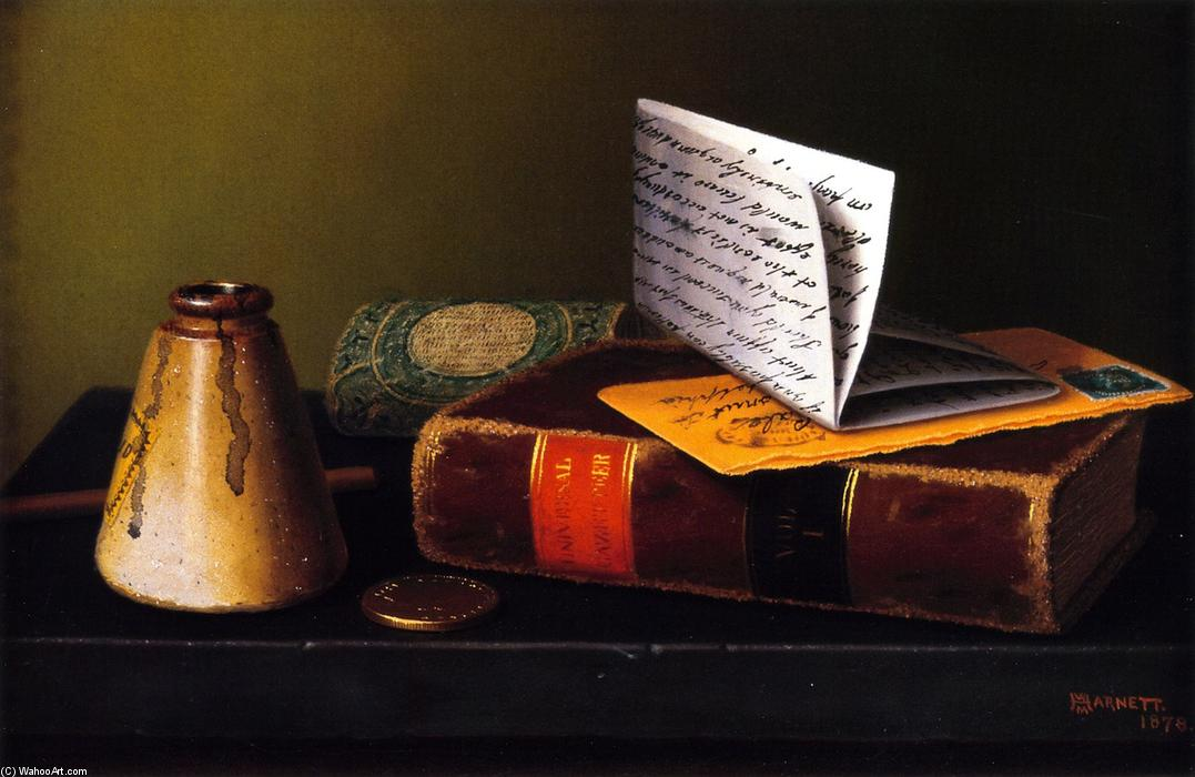 Still LIfe with Universal Gazetteer, Oil On Canvas by William Michael Harnett (1848-1892, Ireland)