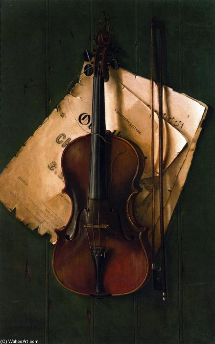 Still Life with Violin, Bow and Sheet Music, 1903 by Nicholas Alden Brooks (1840-1904, United States) | Museum Quality Reproductions | ArtsDot.com