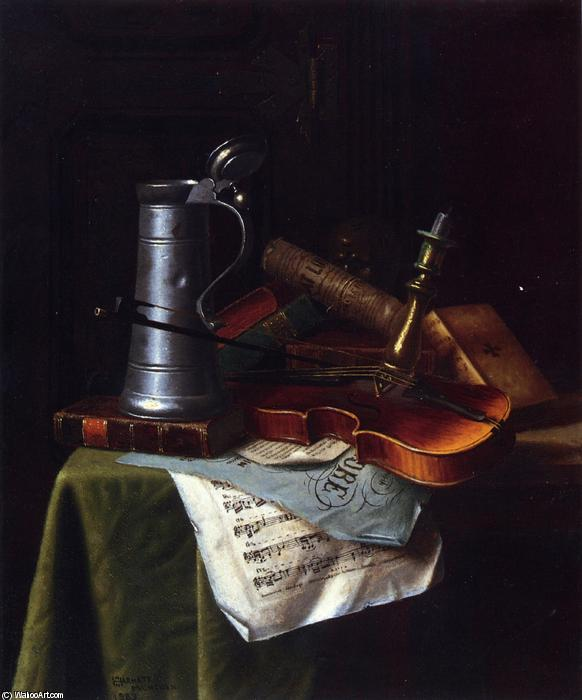 Still Life with a Violin, Pewter Tankard and Sheet Music, Oil On Panel by William Michael Harnett (1848-1892, Ireland)