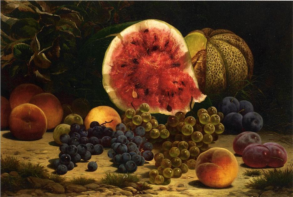 Still Life with Watermelon, Grapes, Peaches, Plums and Cantaloupe, 1870 by William Mason Brown (1828-1898, United States) | Museum Art Reproductions | ArtsDot.com