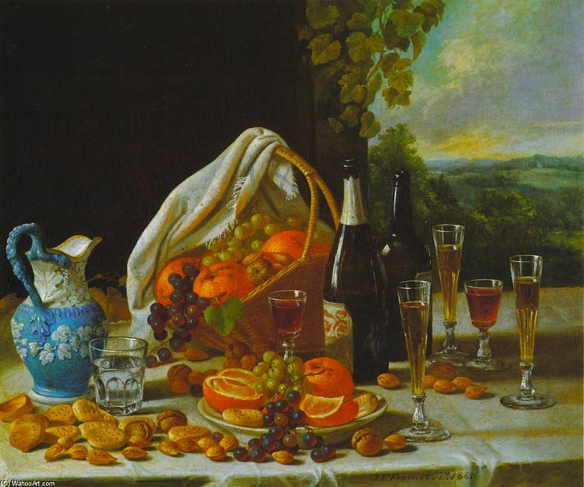 Still Life with Wine and Fruit, Oil On Canvas by John F Francis (1905-1990, United States)