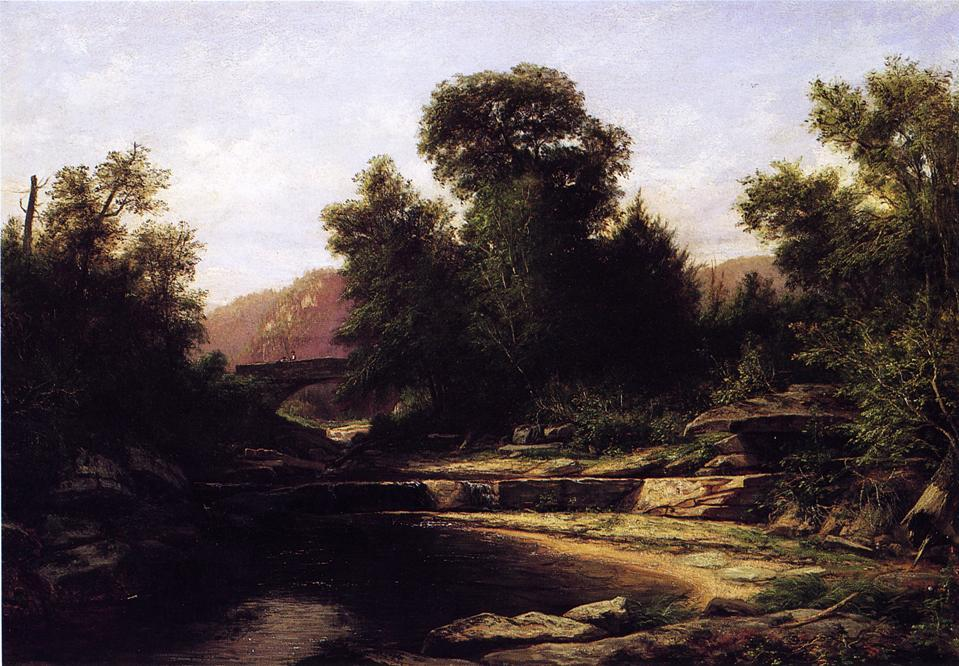 Stone Bridge, Oil On Canvas by George Hetzel (1826-1899, France)