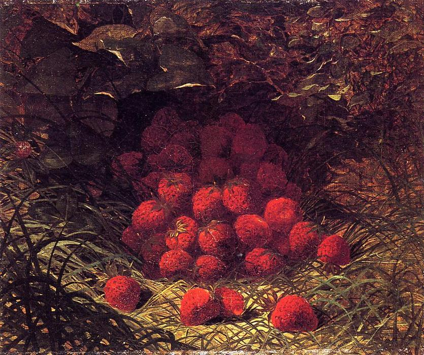 Strawberries, Oil On Canvas by William Mason Brown (1828-1898, United States)