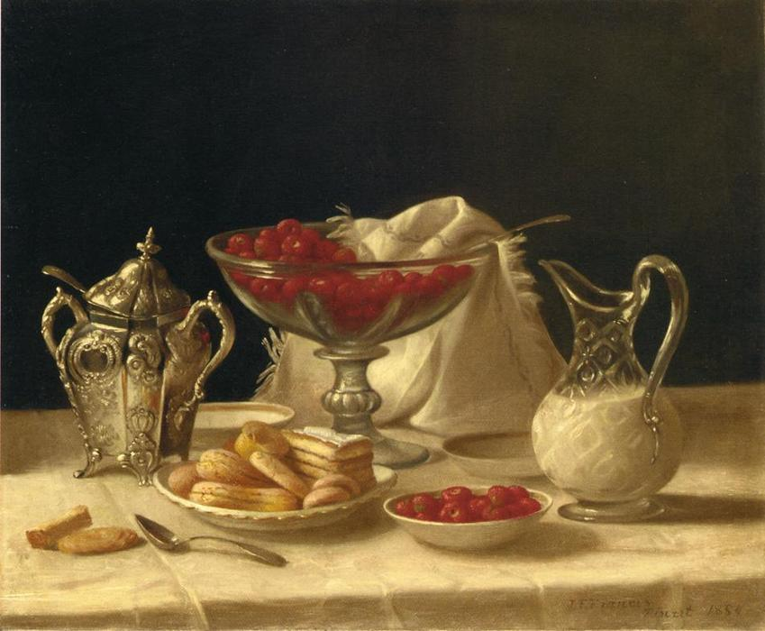 Strawberries, Cakes and Cream, Oil On Canvas by John F Francis (1905-1990, United States)