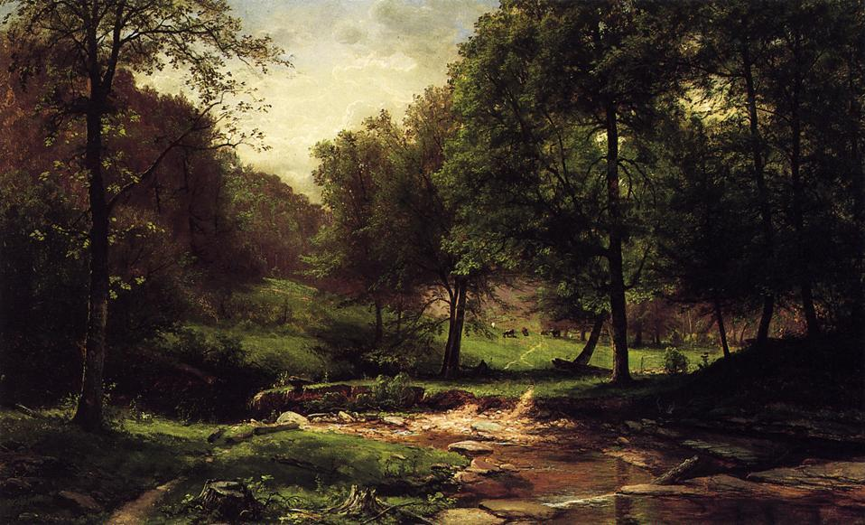 Stream with Field and Grazing Cattle, Oil On Canvas by George Hetzel (1826-1899, France)