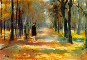 Lesser Ury - Strolling in the Forest