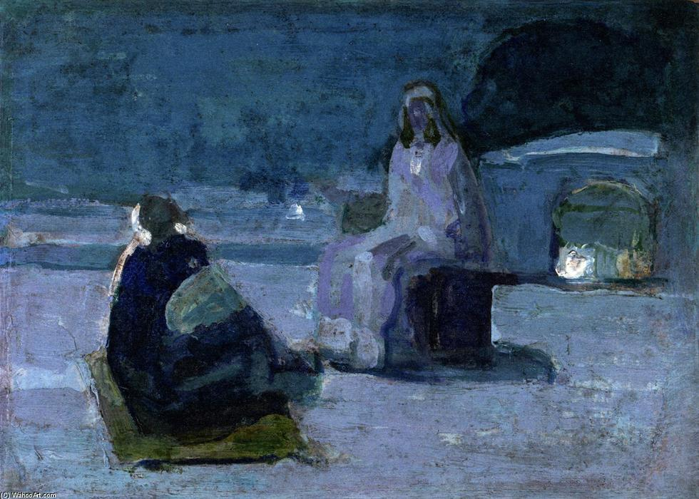 Study for Christ and Nicodemus on a Rooftop, Oil On Panel by Henry Ossawa Tanner (1859-1937, United States)
