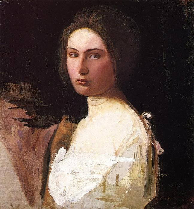 Study of Alma Wollerman, Oil On Canvas by Abbott Handerson Thayer (1849-1921, United States)