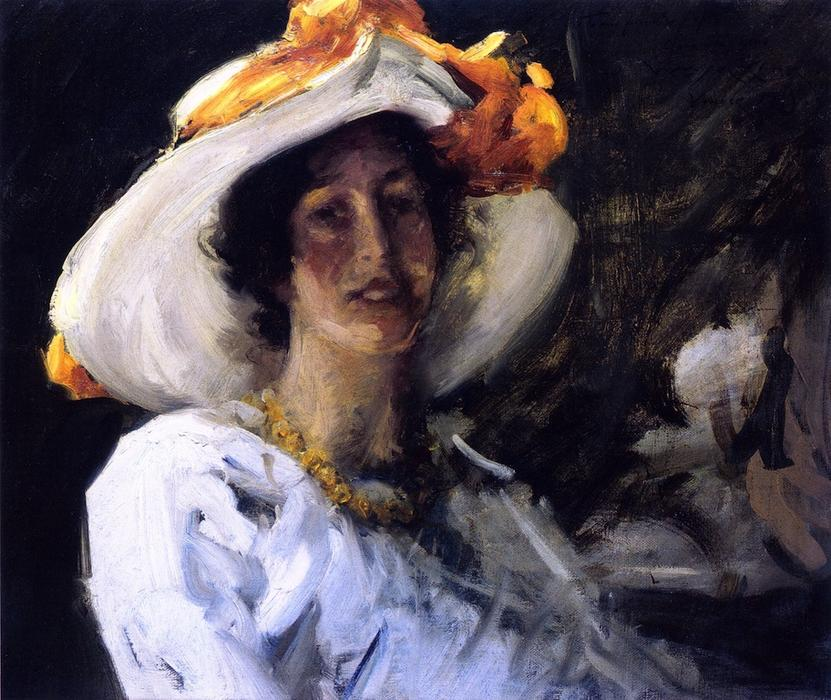 Study of Clara Stephens, Oil On Canvas by William Merritt Chase (1849-1916, United States)