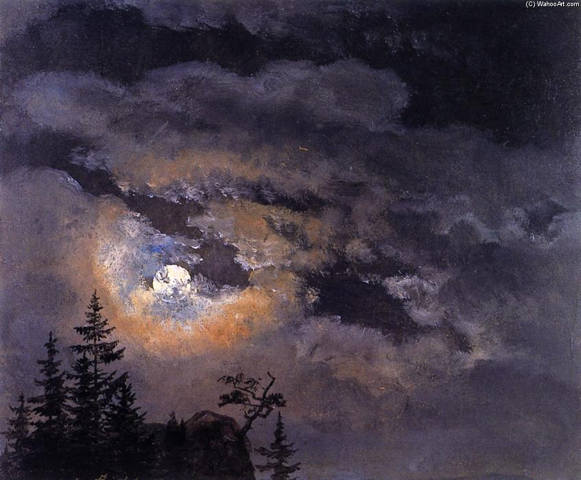 Study of Clouds at Full Moon, Painting by Johan Christian Clausen Dahl (1788-1857, Norway)