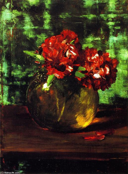 Study of Flowers, Red against Green (also known as Still LIfe), Oil On Panel by William Merritt Chase (1849-1916, United States)