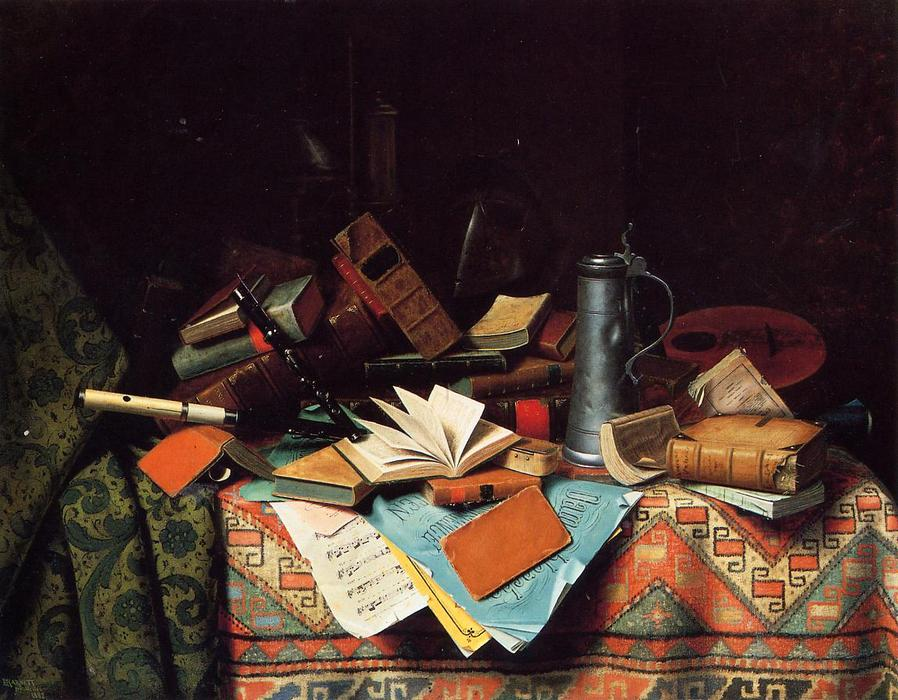 A Study Table, Oil On Canvas by William Michael Harnett (1848-1892, Ireland)