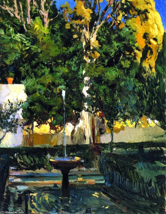 The Sultana's Cypresses, Oil On Canvas by Joaquin Sorolla Y Bastida (1863-1923, Spain)