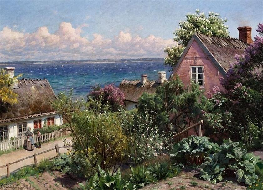 Summer day in Aalsgaarde, 1919 by Peder Mork Monsted (1859-1941, Denmark) | Museum Quality Copies Peder Mork Monsted | ArtsDot.com
