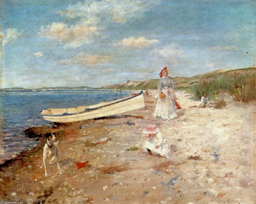 Sunny Day at Shinnecock Bay, Oil On Panel by William Merritt Chase (1849-1916, United States)