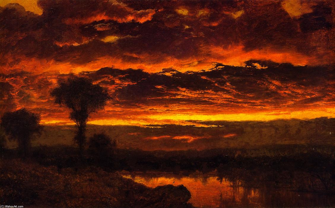 Sunset, 1859 by Louis Remy Mignot (1831-1870, United States) | Museum Art Reproductions | ArtsDot.com