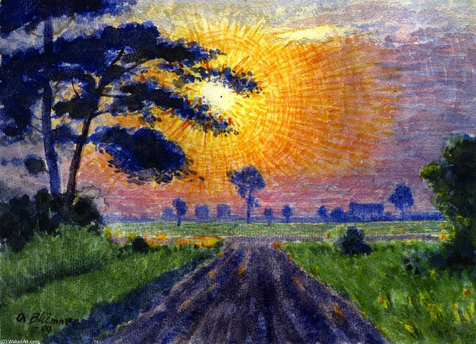 Sunset, Gutenberg, Watercolour by Friedrich Julius Oskar Blümner (1867-1938, Germany)