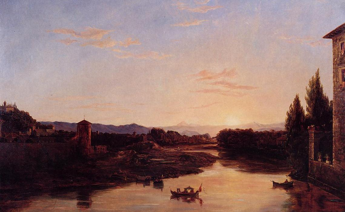 Sunset on the Arno, Oil On Canvas by Thomas Cole (1801-1848, United Kingdom)