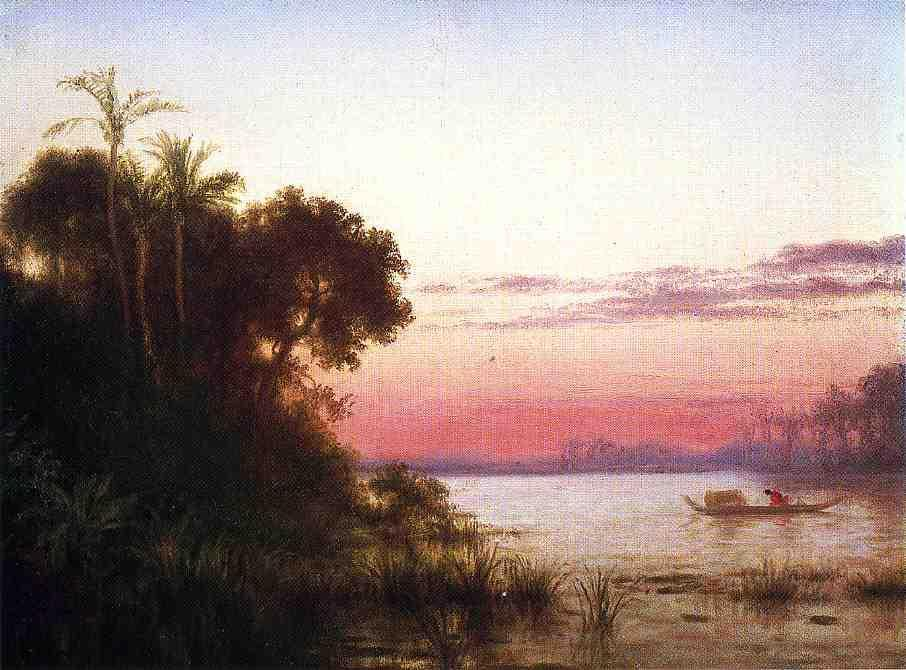 Sunset on the Guayaquil, Oil On Panel by Louis Remy Mignot (1831-1870, United States)