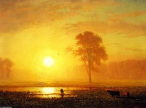 Albert Bierstadt - Sunset on the Plains