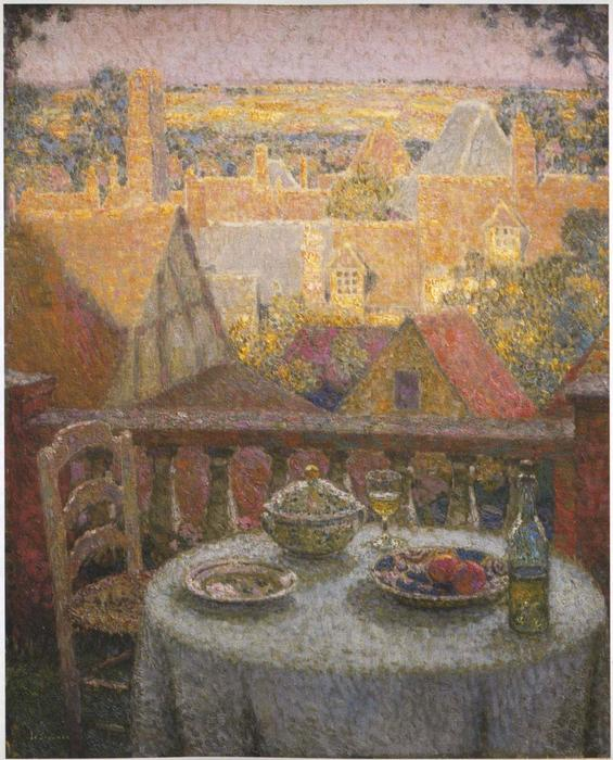 Table on the Terrace, Oil On Canvas by Henri Eugène Augustin Le Sidaner (1862-1939, Mauritius)