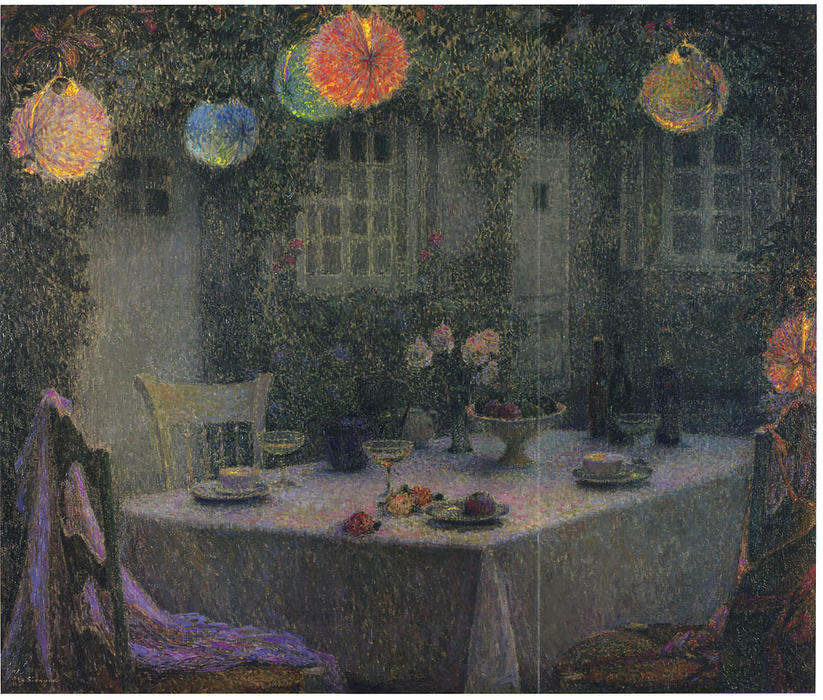 Table with Lanterns in Gerberoy, Oil On Canvas by Henri Eugène Augustin Le Sidaner (1862-1939, Mauritius)