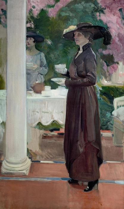 Taking tea, Oil On Canvas by Joaquin Sorolla Y Bastida (1863-1923, Spain)