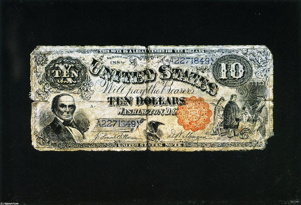 Ten Dollar Bill by Nicholas Alden Brooks (1840-1904, United States) | Painting Copy | ArtsDot.com