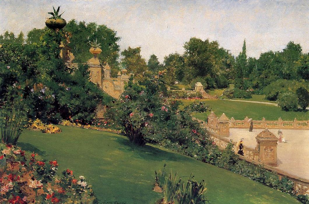 Terrace at the Mall, Cantral Park, Oil On Panel by William Merritt Chase (1849-1916, United States)