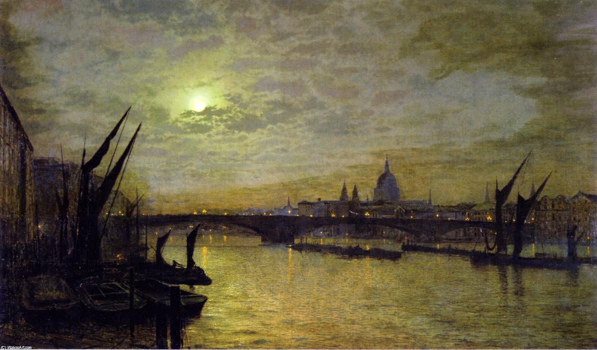 The Thames by Moonlight with Southwark Bridtt, 1884 by John Atkinson Grimshaw (1836-1893, United Kingdom) | Museum Art Reproductions | ArtsDot.com