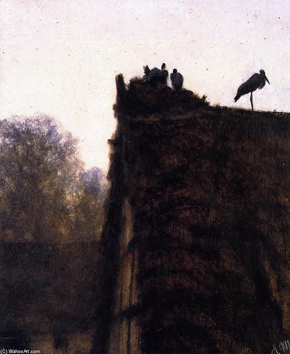 Thatched Roof with Storks` Nest by Adolph Menzel (1815-1905, Poland) | Museum Art Reproductions | ArtsDot.com