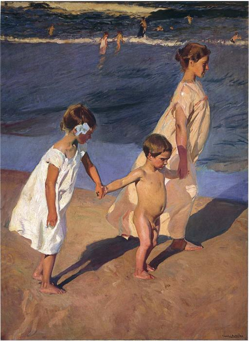To the Water, Valencia (also known as Going for a Bath, Valencia), Oil On Canvas by Joaquin Sorolla Y Bastida (1863-1923, Spain)