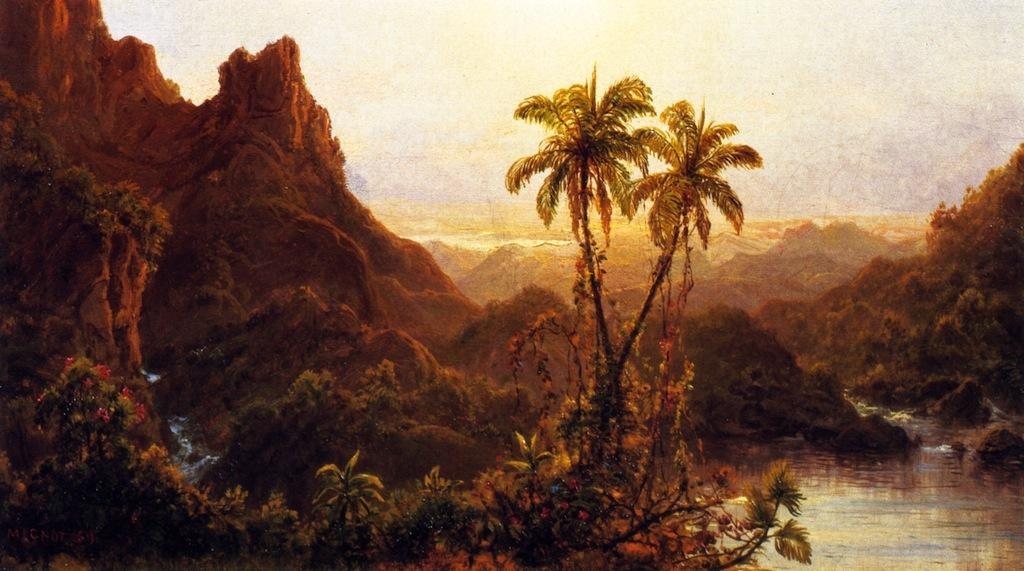 Tropical Landscape, Oil On Panel by Louis Remy Mignot (1831-1870, United States)