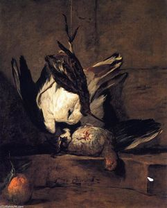 Jean-Baptiste Simeon Chardin - Tufted Lapwing, Grey Partridge, Snipe and Seville Orange