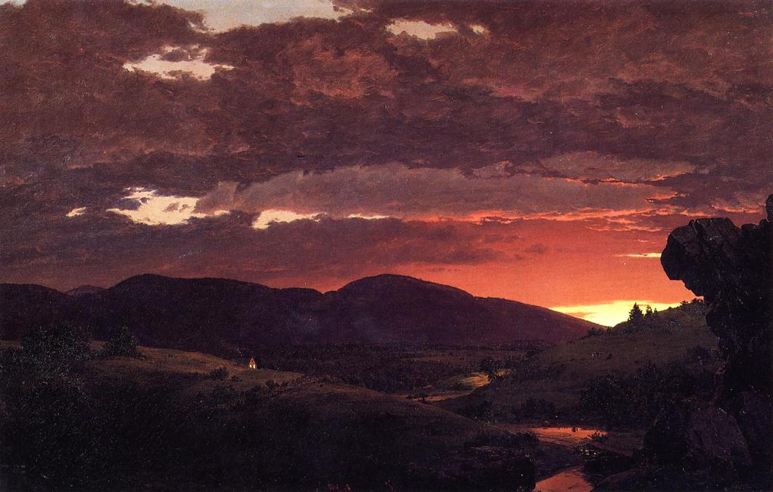 Twilight, `Short arbiter `twixt day and night`, 1850 by Frederic Edwin Church (1826-1900, United States) | Paintings Reproductions Frederic Edwin Church | ArtsDot.com